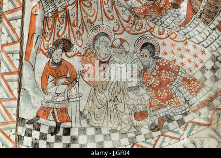 Danish medieval religious fresco in the 13th century Gothic style Tuse Church depicting the Adoration of the Magi - Stock Photo