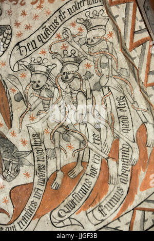 Danish medieval religious fresco in the 13th century Gothic style Tuse Church depicting the transitoriness of life - Stock Photo
