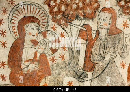 Danish medieval religious fresco in the 13th century Gothic style Tuse Church depicting  Maria and Joseph with the - Stock Photo