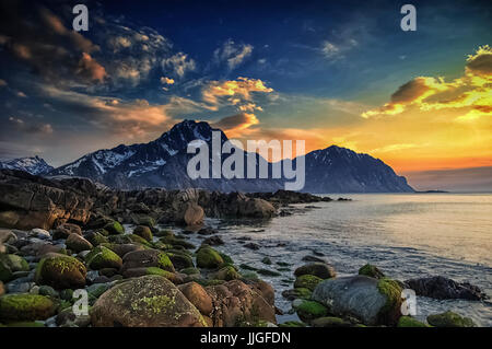 View from Offersoya, Lofoten, Nordland, Norway - Stock Photo