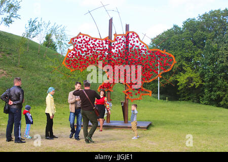 KYIV, UKRAINE - MAY 16, 2015: Map of the Ukraine with red flowers at the Museum of the Great Patriotic War - Stock Photo
