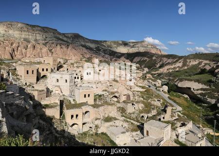 Houses in Cavusin Village, Cappadocia, Nevsehir City, Turkey - Stock Photo