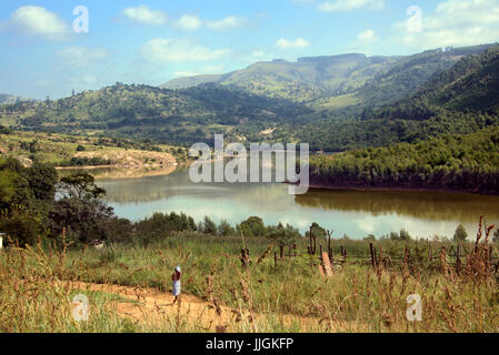 Panoramic view Lake Luphohle Elulwini Valley Central Swaziland Southern Africa - Stock Photo