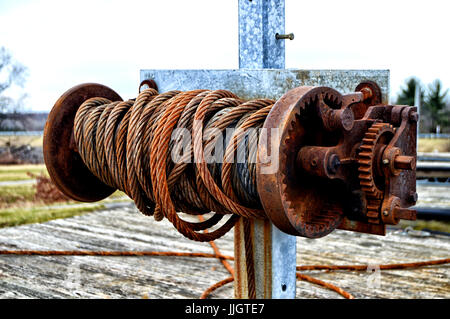 Steel Cable on Reel - Stock Photo