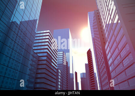Three dimensional image of modern city against scenic view of bright sun over white cloudscape - Stock Photo