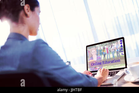 Composite image of students for online courses against businesswoman typing on laptop - Stock Photo