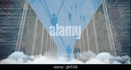 Server hallway against people icons and binary codes - Stock Photo
