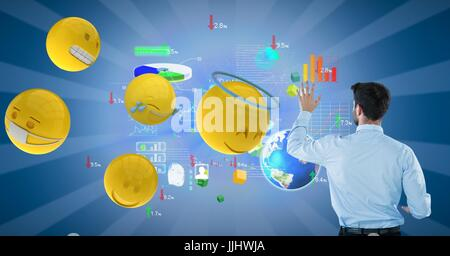 Businessman analyzing graphs on blue background by 3d various emojis - Stock Photo