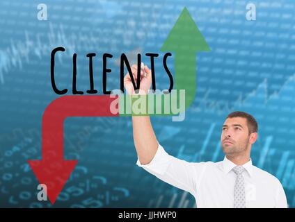 Businessman drawing graphic about Clients with red and green arrows. Stock market background - Stock Photo
