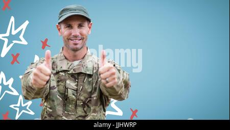 Soldier giving two thumbs up against blue background with red and white hand drawn star pattern - Stock Photo