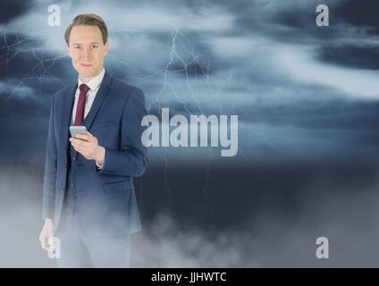 Smiling man texting with 3D lightnings in background - Stock Photo