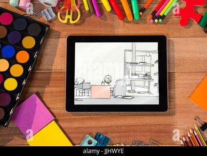 desk with 3d tablet and drawing tools. On the tablet a draw of a office - Stock Photo