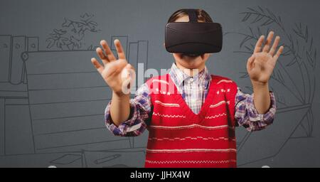 Boy in virtual reality headset against grey hand drawn office - Stock Photo