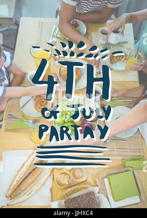Blue and white fourth of July party graphic against overhead of family eating at table - Stock Photo