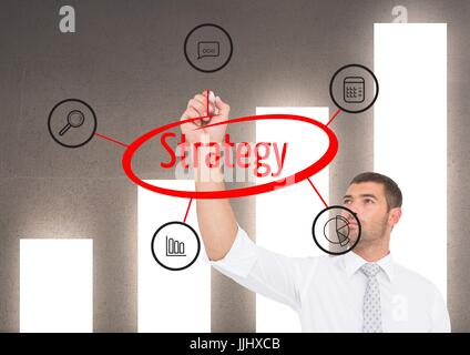 Businessman doing a 3d graphic about STRATEGY in the screen. Graph wall background - Stock Photo