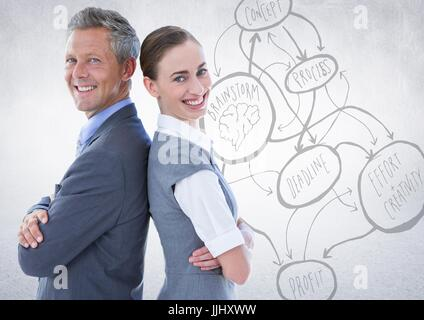 3d Business people back to back against white wall with concept doodle - Stock Photo