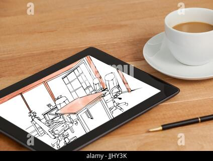 desk with coffee and tablet. On tablet the draw of the new design for the office. (black and white w - Stock Photo
