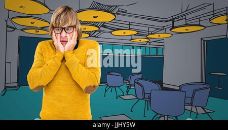 Frustrated millennial against 3d blue and yellow hand drawn office - Stock Photo