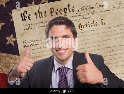 Smiling man thumbs up for independence day - Stock Photo