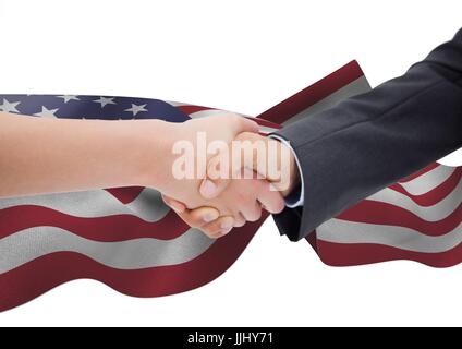 Handshake for independence day against 3D american flag - Stock Photo