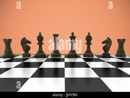 3D Chess pieces against orange background - Stock Photo