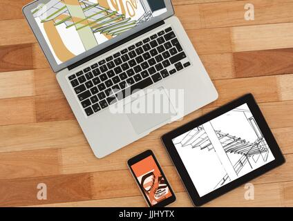 laptop, tablet and phone on a desk. On tablet 3D white and black blueprint and on phone and laptop w - Stock Photo