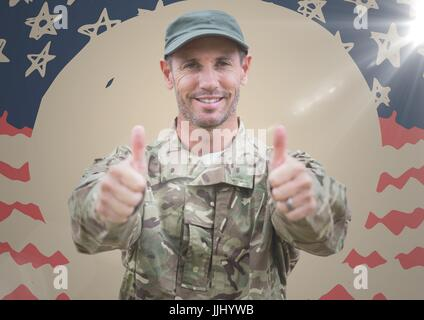 Soldier giving two thumbs up against hand drawn american flag with flare - Stock Photo