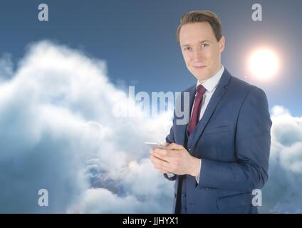 Man Texting in 3D clouds with sun - Stock Photo