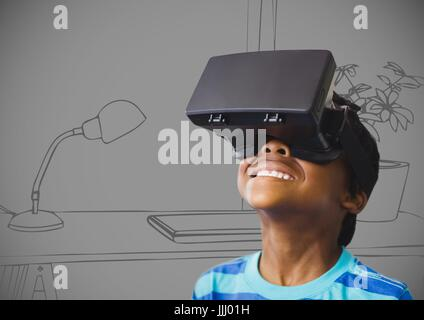 Boy in virtual reality headset against 3D grey hand drawn office - Stock Photo