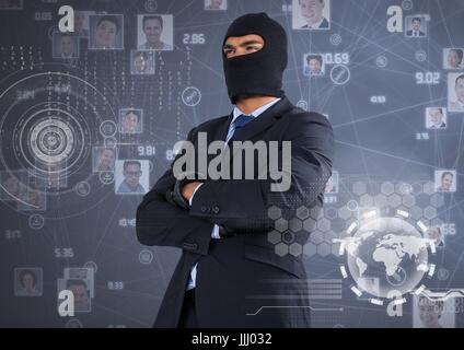 Businessman with hood and arms crossed in front of digital background - Stock Photo