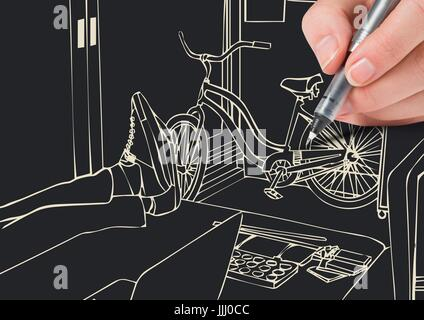 hand drawing 3D office lines in negative( white lines and dark background) - Stock Photo