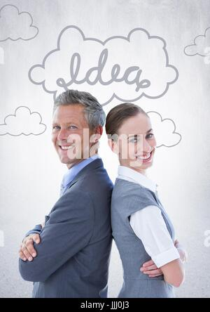 Business people back to back against white wall with idea doodle - Stock Photo