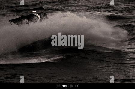 Motorboat splash in Black and White - Stock Photo
