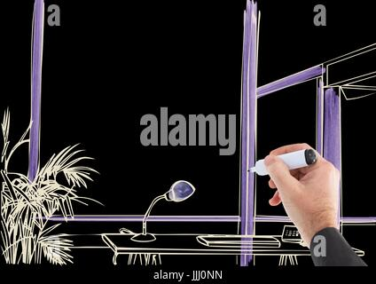3D hand drawing office lines in negative (white lines and black background) with purple details - Stock Photo