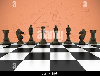 3D Chess pieces against orange background with math doodles - Stock Photo