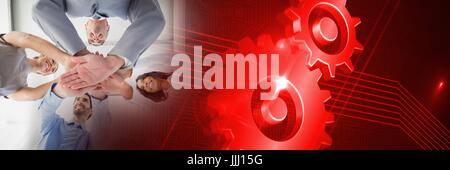 Business team putting hands together with red cog transition - Stock Photo