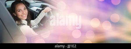 Woman in car with transition effect 3d - Stock Photo