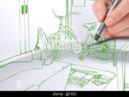 3D hand drawing office green lines - Stock Photo