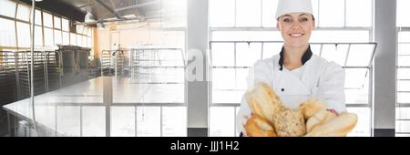 Pastry baker Chef with windows and kitchen bakery background - Stock Photo
