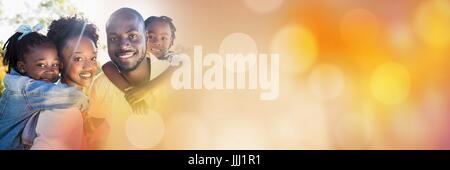 Family piggy back outside with orange bokeh transition 3d - Stock Photo