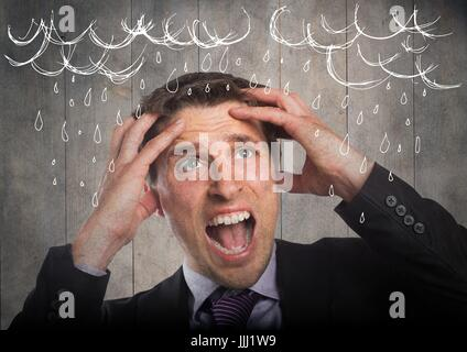 Frustrated business man against grey wood panel and 3d white rain graphics - Stock Photo