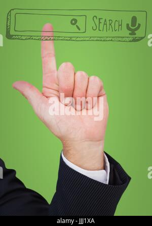 Hand pointing at search bar against green background - Stock Photo