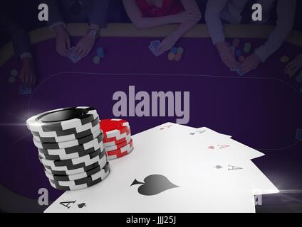 3D poker chips and playing cards in front of dark casino table background - Stock Photo