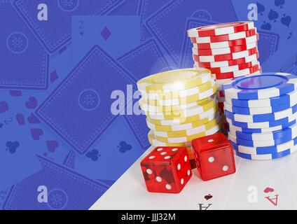 3D Poker casino chips and dice and cards - Stock Photo