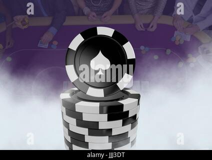 3D Poker chips in front of people gambling in casino on table - Stock Photo