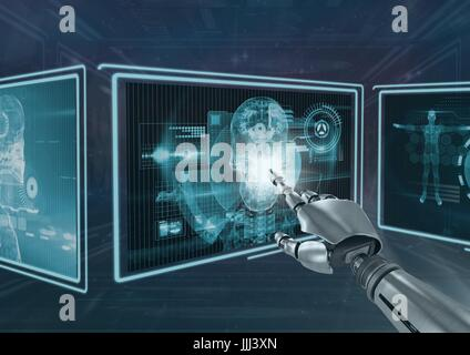 3D robot hand interacting with medical 3d interfaces - Stock Photo