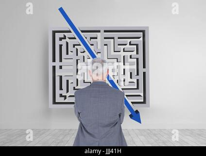 Man looking to a maze with an arrow 3d - Stock Photo