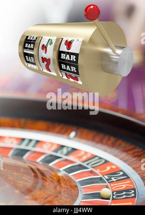 3d casino slot machine in front of roulette - Stock Photo