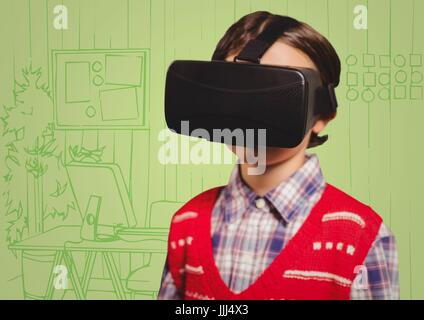 Boy in virtual reality headset against green hand drawn office - Stock Photo