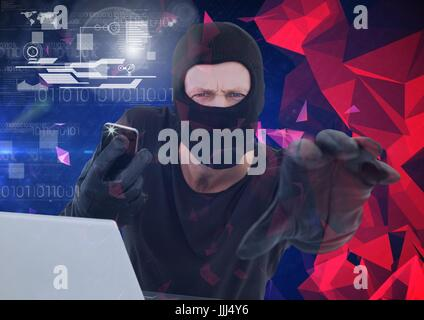 Hacker holding a smartphone and trying to hold the lens in front of 3d minimalist background - Stock Photo